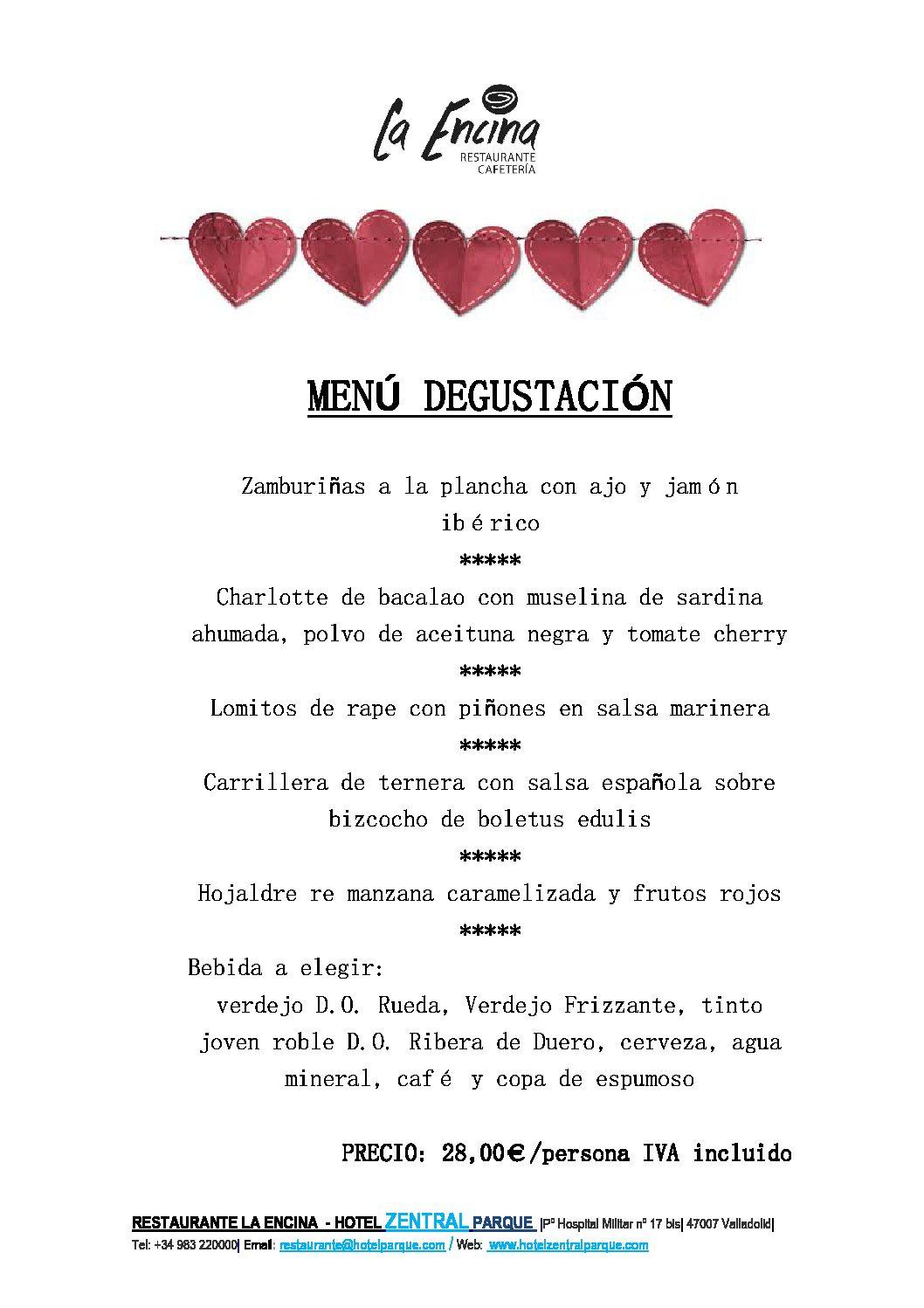 Menú Degustación de SAN VALENTÍN